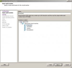 ESX - Create New Virtual Machine - Name