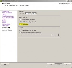 ESX - Create Virtual Machine - Disk Allocation