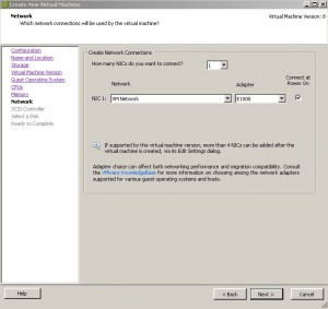 ESX - Create Virtual Machine - NIC