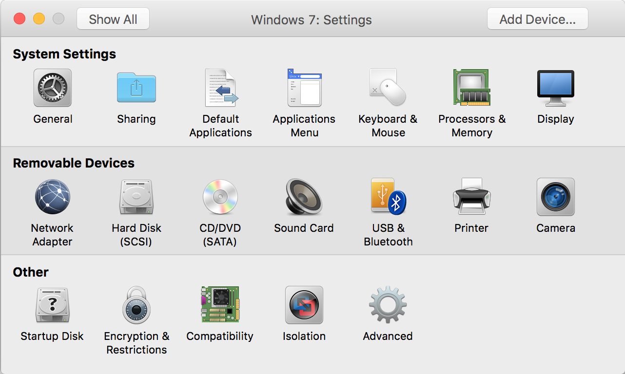 vmware fusion virtual machine settings